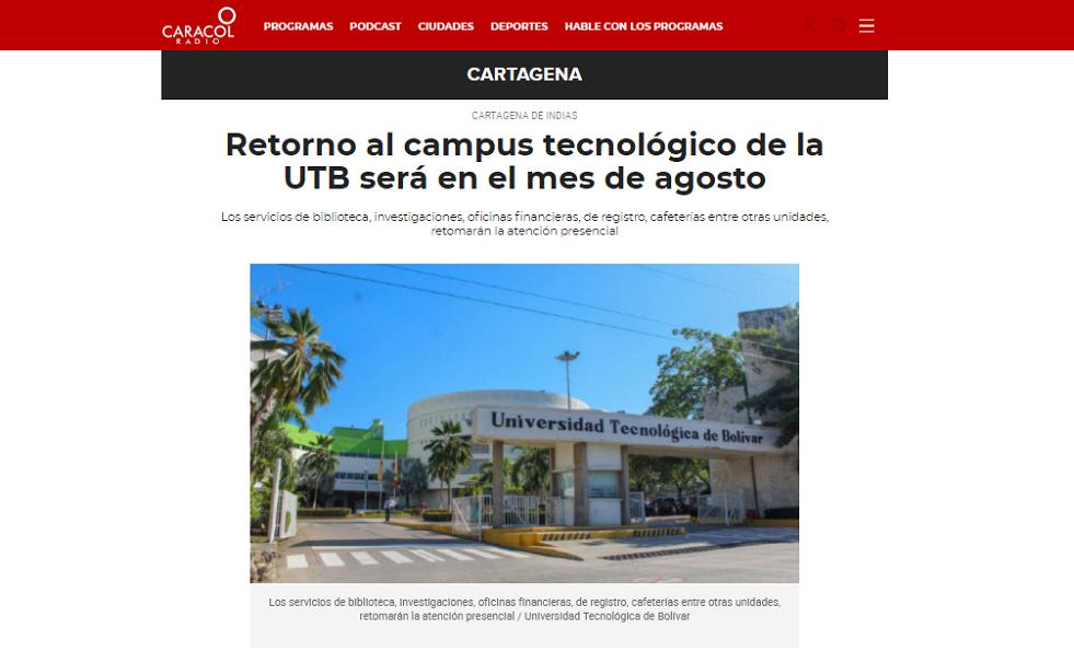 caracol radio UBT retorno campus tecnologico UTB