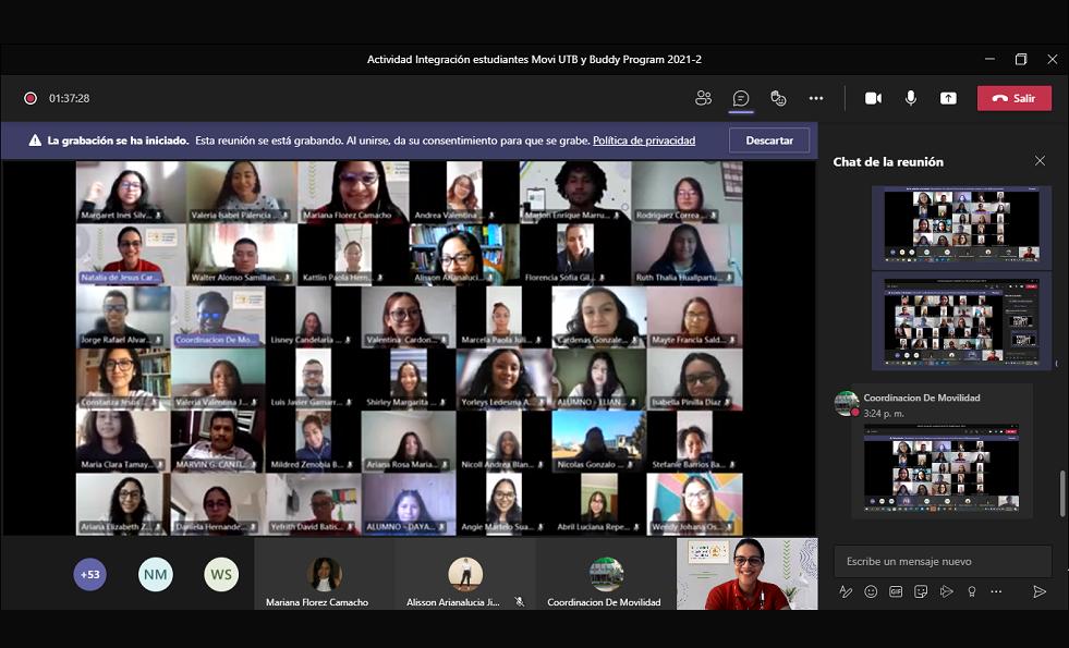 sesion virtual programas internacionalizacion UTB MoviUTB Buddy Program