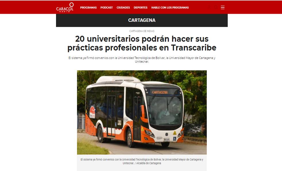 prácticas profesionales en Transcaribe