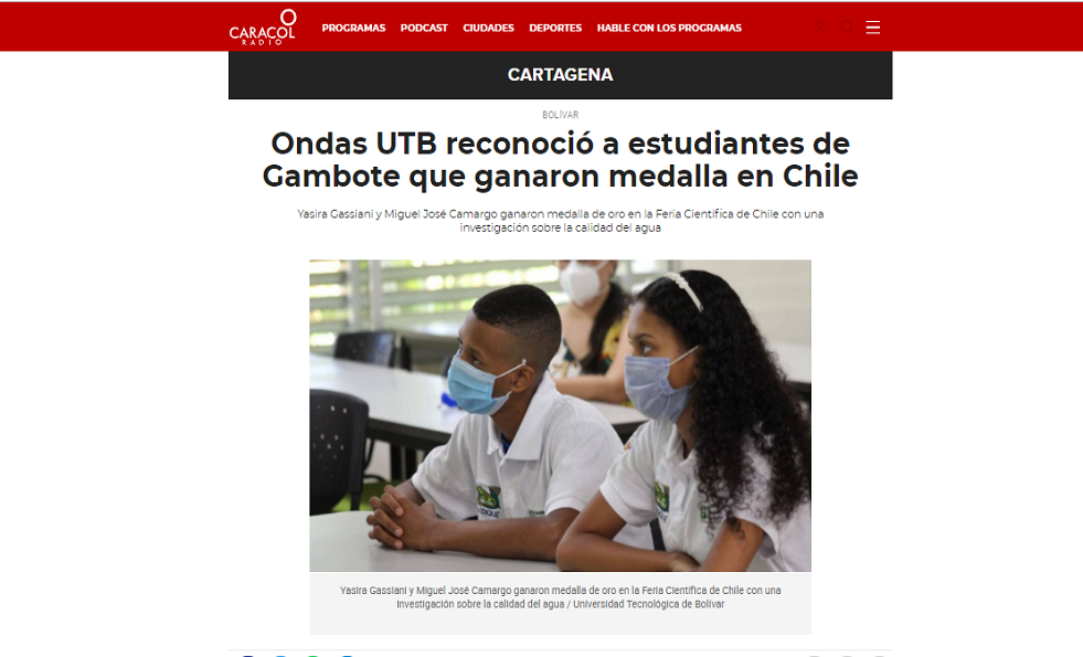 Ondas UTB reconoció a estudiantes de Gambote
